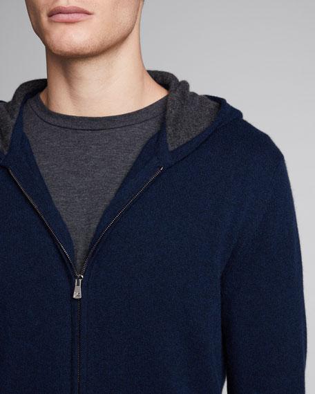 Men's Two-Tone Cashmere Zip-Front Hoodie
