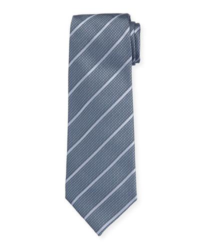Bluestone Diagonal Stripe Mulberry Silk Tie