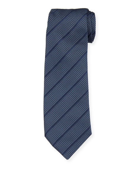 Diagonal Stripes Mulberry Silk Tie