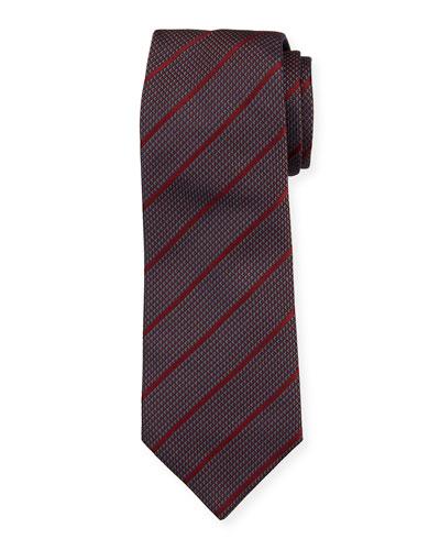 Diagonal Stripe Mulberry Silk Tie