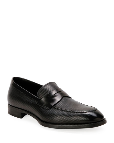 Men's Textured Leather Penny Loafers
