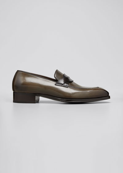 Men's Elkan Twisted-Keeper Leather Loafers