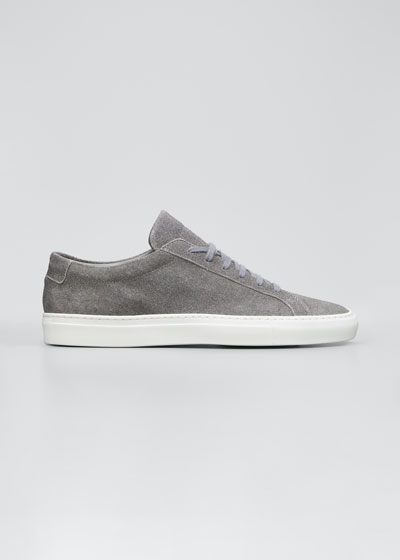 Men's Achilles Patterned Suede Low-Top Sneakers