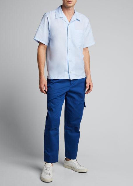 Men's Linen-Cotton Camp Shirt w/ Pocket