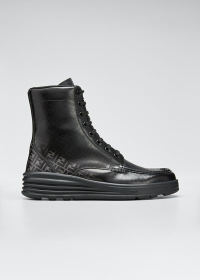 Men's Faded FF Moc-Toe Leather Combat Boots