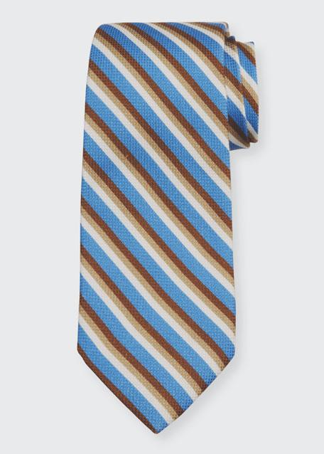 Men's Striped Cotton-Silk Tie