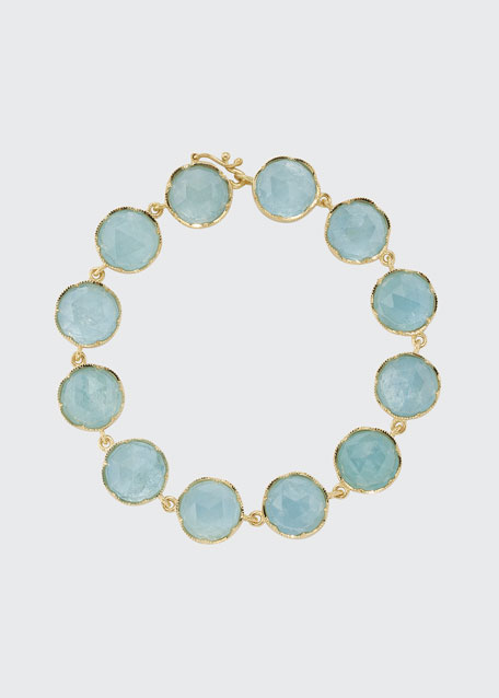 Image 1 of 1: 18k Yellow Gold Aquamarine Bracelet