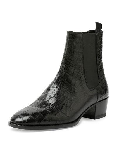 Blake Croc-Embossed Ankle Bootie