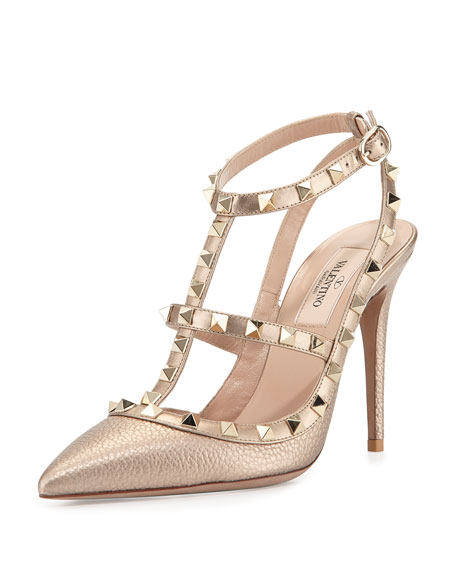 Valentino Rockstud Metallic Slingback Leather Pumps