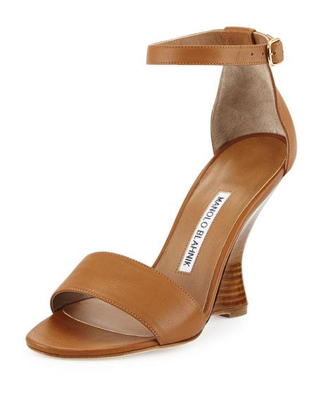 3ce486751088b Manolo Blahnik Lauratowe Ankle-Wrap Wedge Sandal