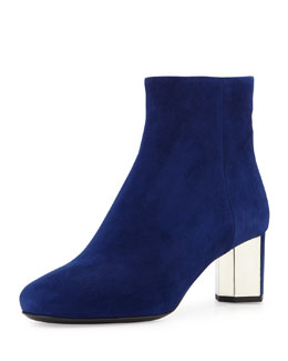 Suede Metallic Heel Ankle Boot