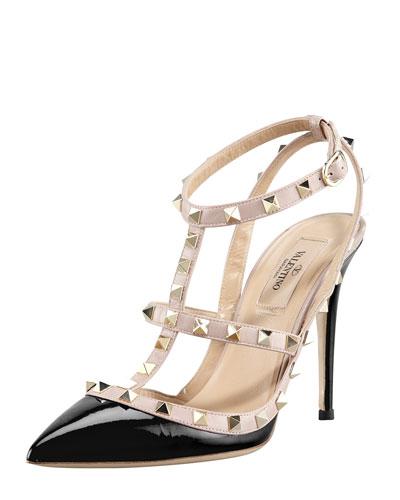 Rockstud Patent Sandal, Ivory