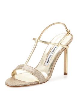Metallic Napa & Suede T-Strap Sandal