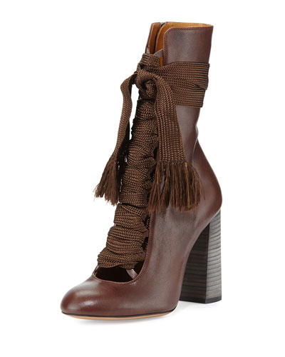 Leather Lace-Up Ankle Boot, Chocolate