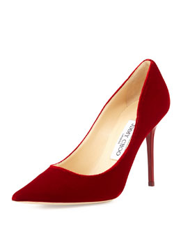 Abel Velour Pointed-Toe Pump, Red
