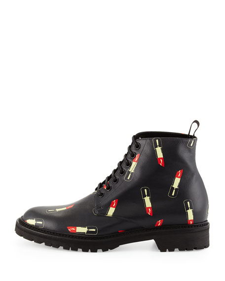 Lipstick-Print Leather Ranger Boot, Black/Red