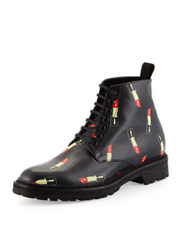 Lipstick-Print Leather Ranger Boot, Black/Red
