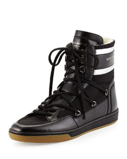 Fur-Lined Leather High-Top Sneaker, Noir/Platine