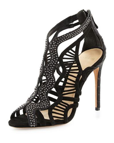 Loretta Rock Studded Python & Suede Cutout Sandal