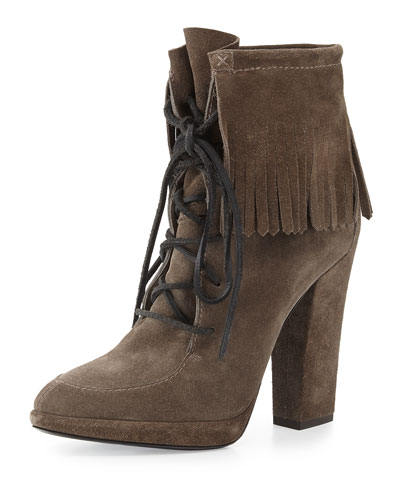 Lace-Up Suede Fringe Bootie
