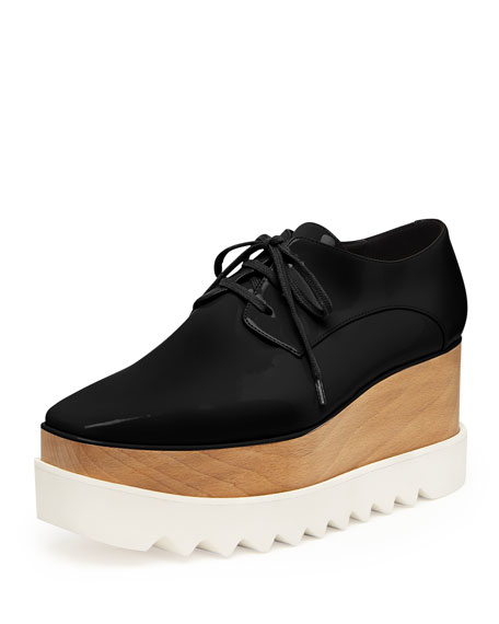 Stella McCartney Faux-Leather Platform Oxford, Black