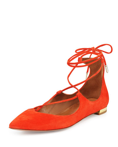 Christy Lace-Up Point-Toe Flat, Clementine