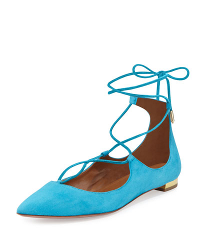 Christy Lace-Up Point-Toe Flat, Calypso