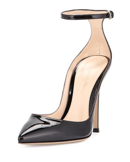 Patent Low-Collar Ankle-Wrap Pump, Black (Nero)