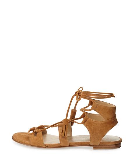Romanflat Suede Gladiator Flat Sandal, Camel