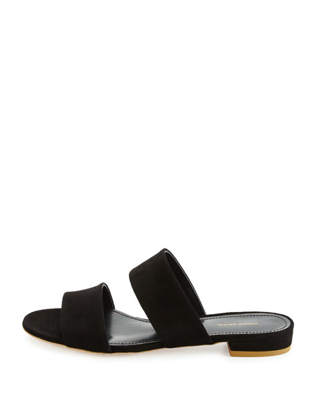 Suede Two-Band Flat Slide Sandal, Black