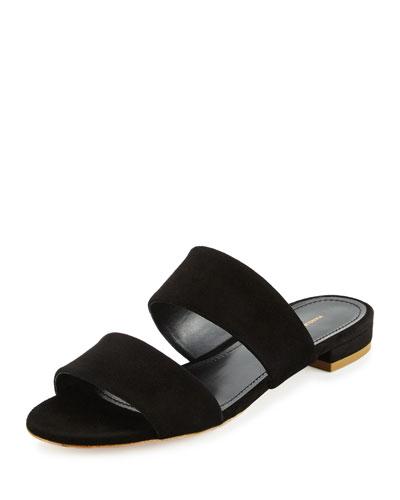Suede Two-Band Flat Slide Sandal, Black