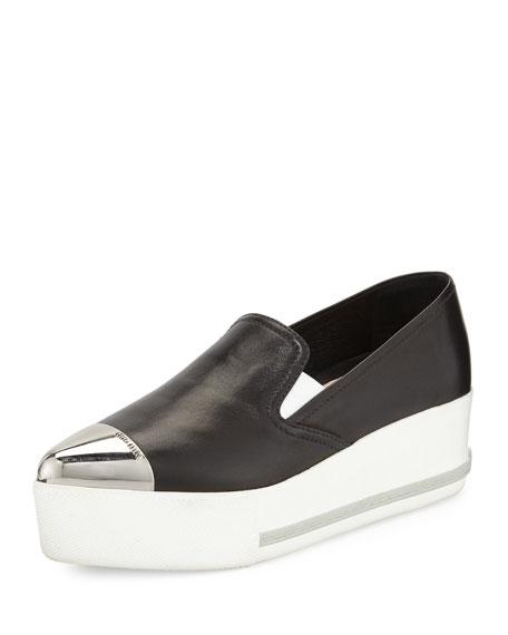 b33c557f14e Miu Miu Leather Cap-Toe Platform Sneaker