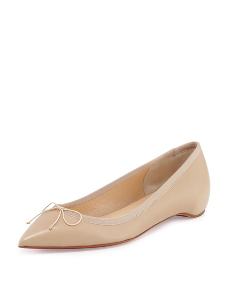 Christian Louboutin Solasofia Leather Red Sole Flat, Nude
