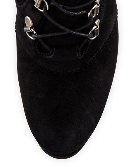 Saddle Suede Platform Hiker Boot, Black