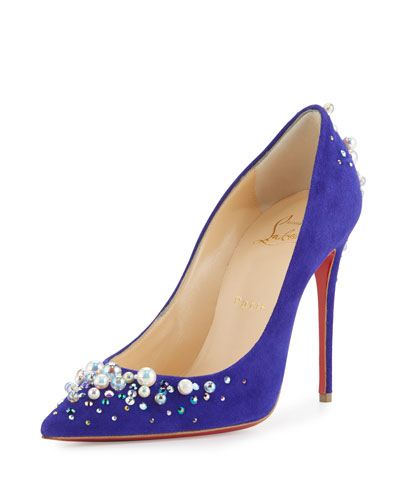 Candidate Pearly-Embellished Suede Red Sole Pump, Purple Pop
