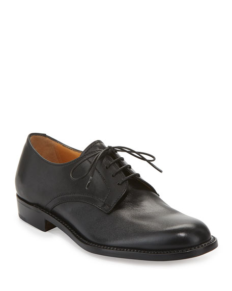 Calf Leather Lace-Up Oxford, Black