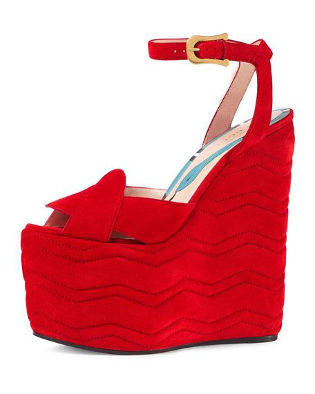 bb18588da71 Gucci Sally Suede Platform Wedge Sandal