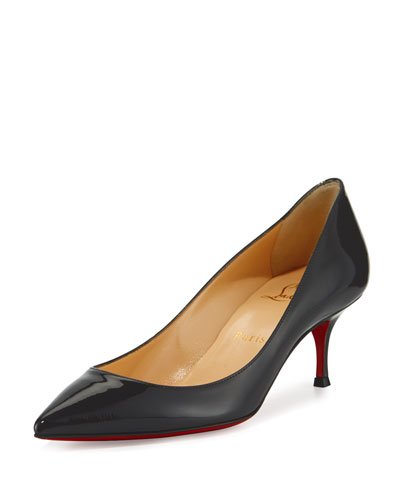 Pigalle Follies Patent 55mm Red Sole Pump, Fusain Gray