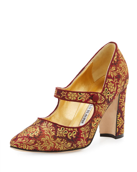 Manolo Blahnik Campy Brocade Mary Jane Pump