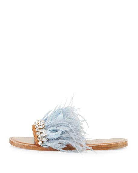 8e5371796 Miu Miu Jeweled Feather Mule Slide Sandal