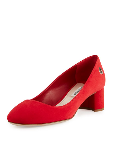 Suede Ankle-Wrap 45mm Block-Heel Pump