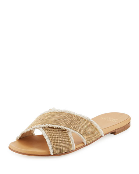 Edgeway Linen Flat Slide Sandal, Oat