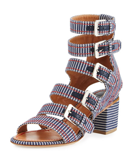 Nora Striped Canvas Buckle-Strap Sandal, Navy