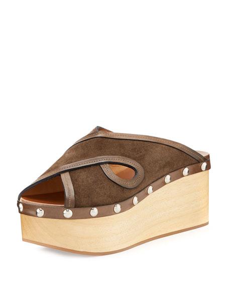 Isabel Marant Zipla Suede Clog Wedge Sandal