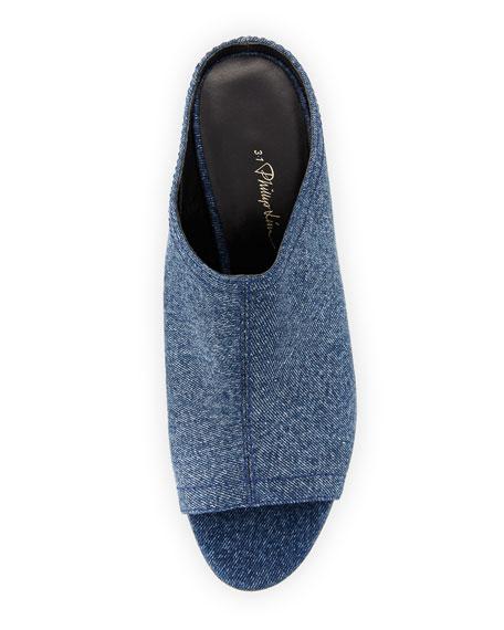 Cube Denim Block-Heel Mule Sandal, Light Denim