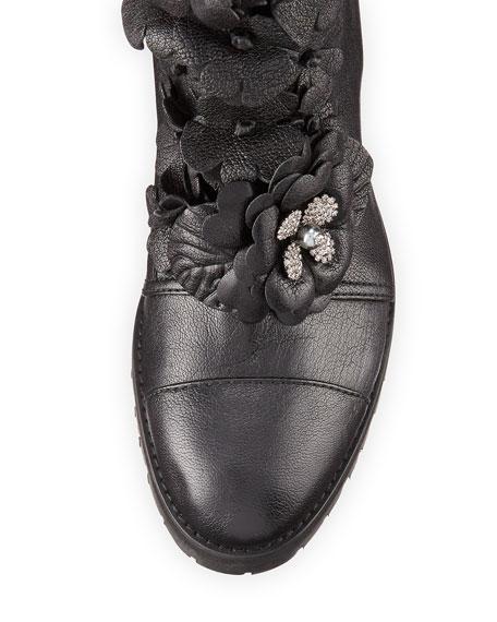 Havana Floral-Embellished Combat Boot, Black