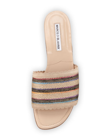 Arcara Woven Raffia Flat Sandal Mule, Multi