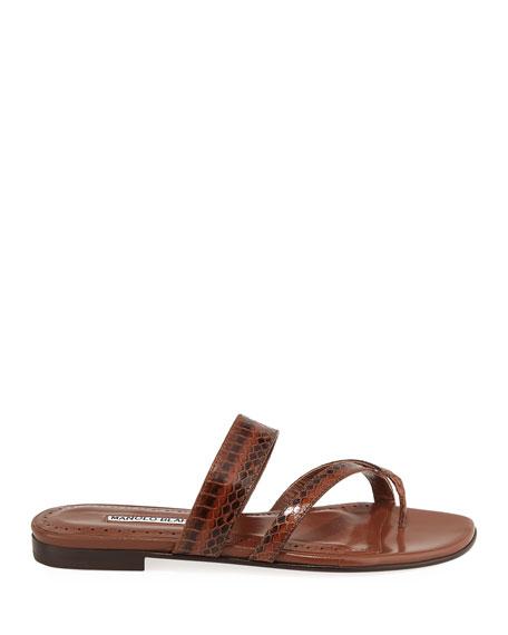 Susa Strappy Snakeskin Slide Sandal