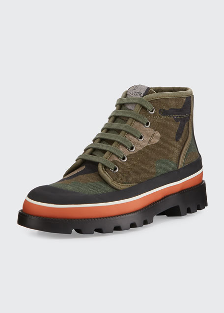 ba4ea23bb12 Valentino Garavani Camouflage Canvas High-Top Sneaker