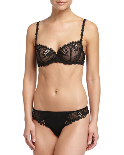 Wish Lace Demi Cup Bra & Tanga, Black